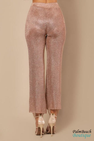 Rose Gold Distressed Fringed Metallic Pants - Womens Pants