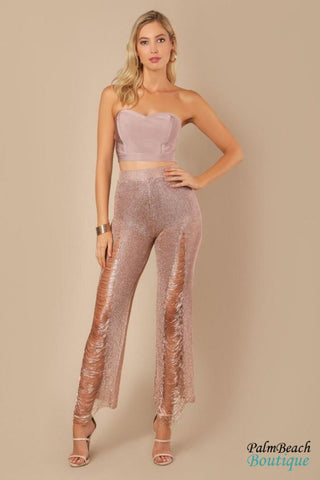 Gold Distressed Fringed Metallic Pants