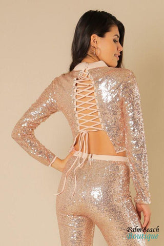 Rose Gold Mock Neck Sequins Crop Top - Womens Tops