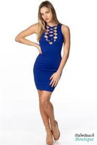 Royal Blue Bandage D-Ring Lace-Up Detail Midi Dress - Dresses