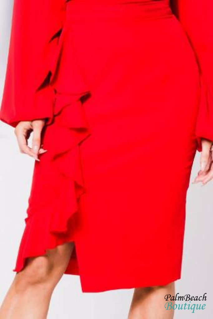 Ruffle Detail Pencil Skirt - Womens Skirts