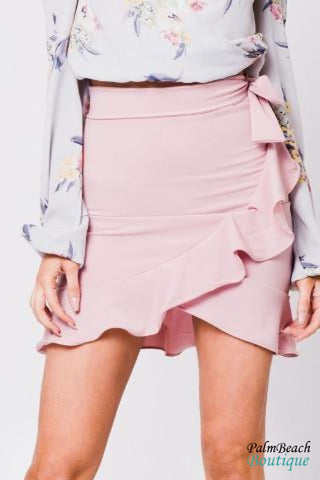 Ruffle Hem Tie Side Mini Skirt - Womens Skirts