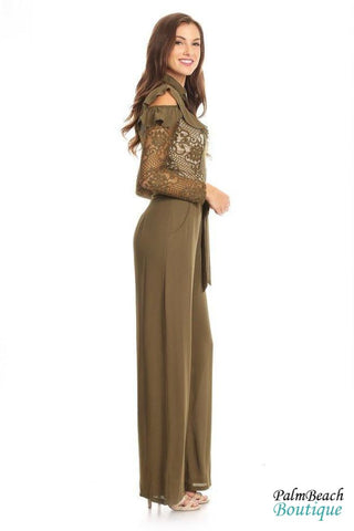 Ruffle Lace Front Jumpsuit - Womens Jumpsuits