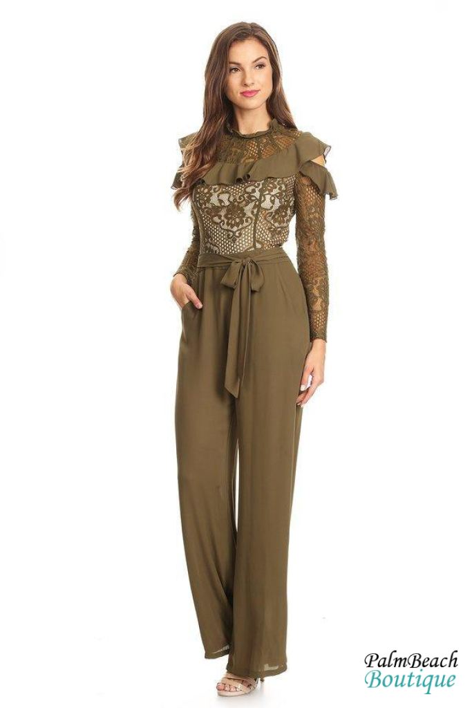 Ruffle Lace Front Jumpsuit - Small / Olive Green - Womens Jumpsuits
