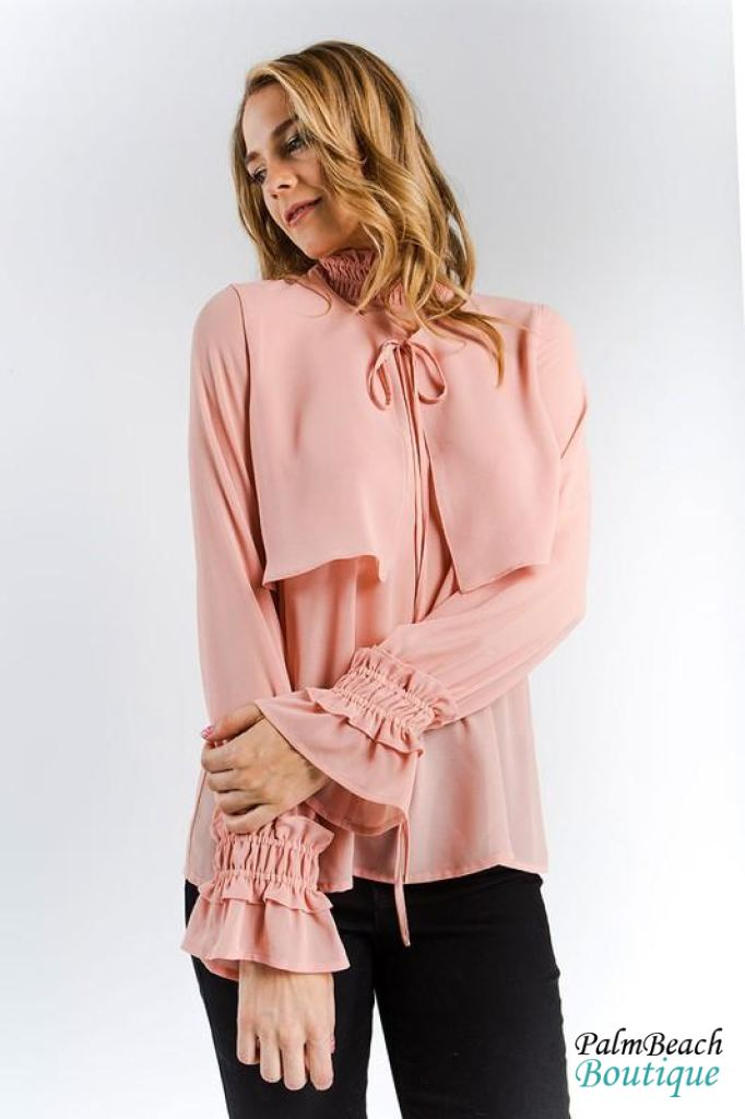 Ruffle Smock Neck Detail Bell Sleeve Blouse - Womens Tops