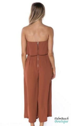 Ruffle Strapeless Jumpsuit - Womens Jumpsuits