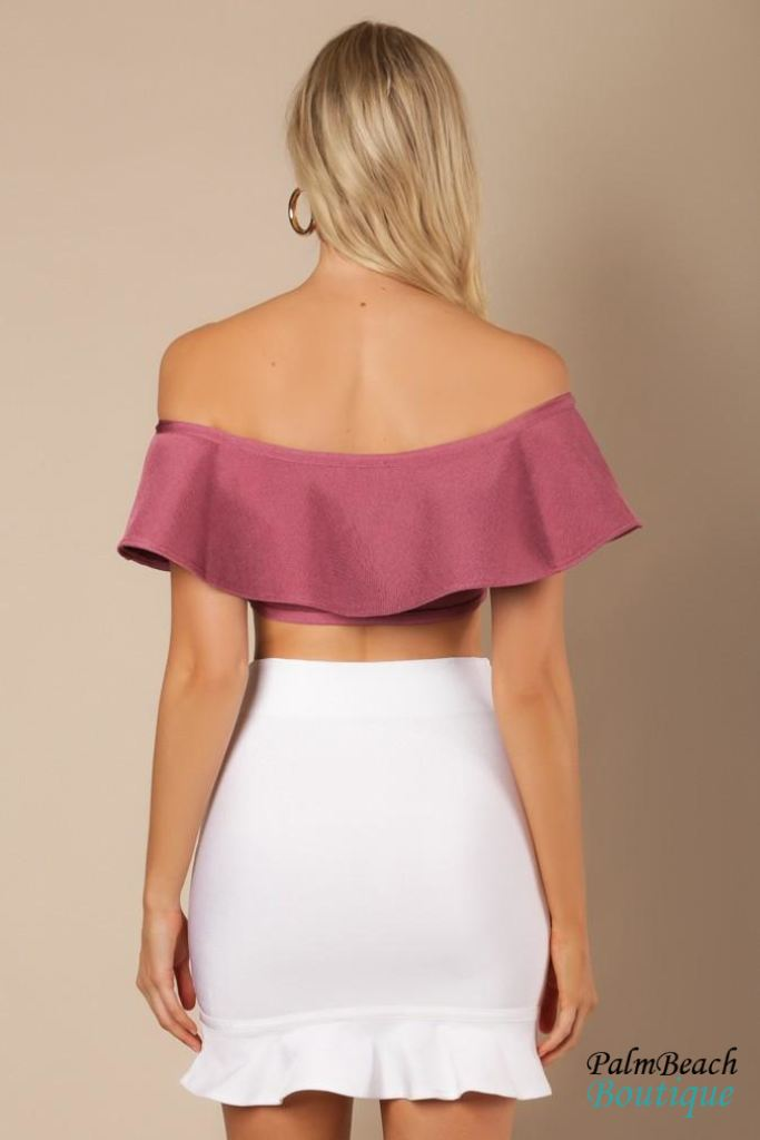 Ruffled Off Shoulder Crop Top - Womens Tops