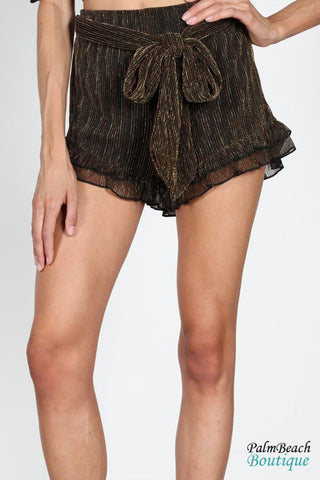 Ruffled Trim Shorts With Self Tie As A Belt - Womens Shorts