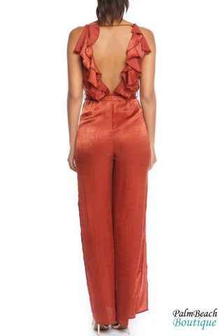 Satin Ruffle Jumpsuit - Womens Jumpsuits