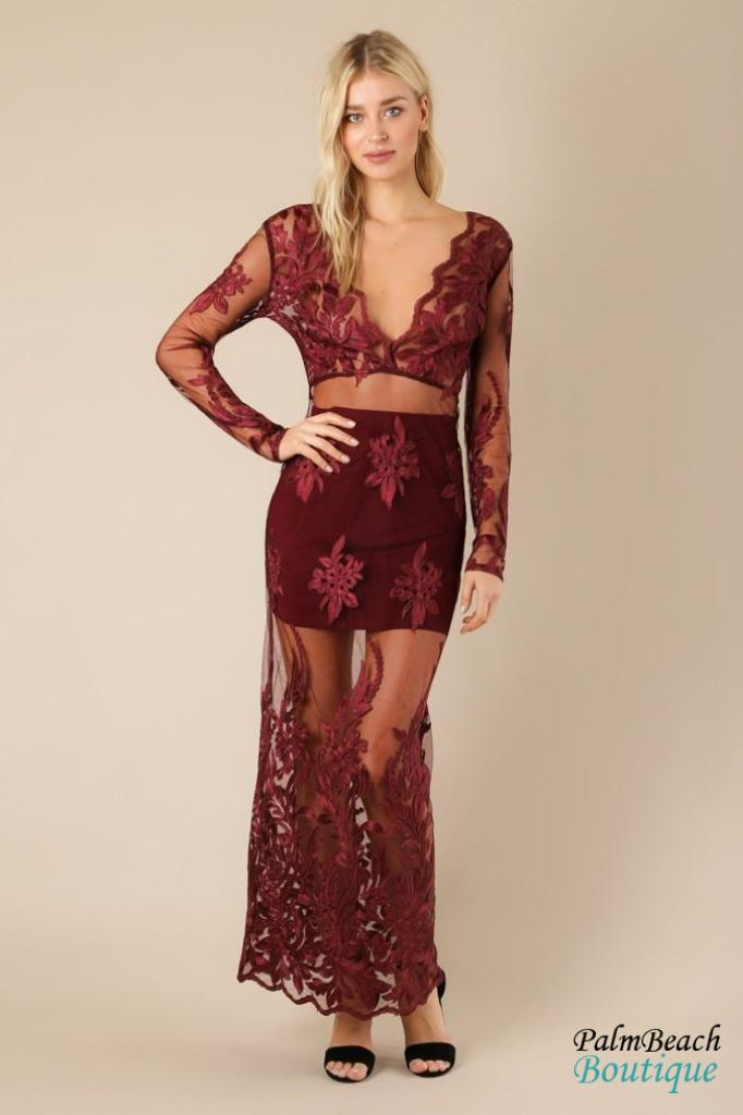 Scallop Lace Embroidered Maxi Gown - Dresses