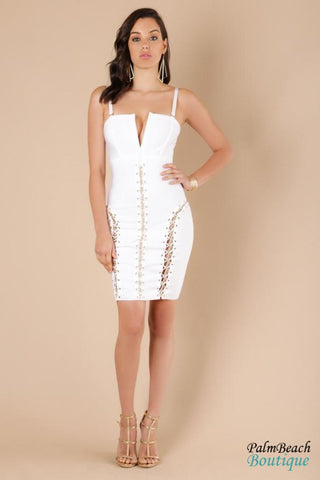 Sharp V-Neck Bandage Dress - Dresses