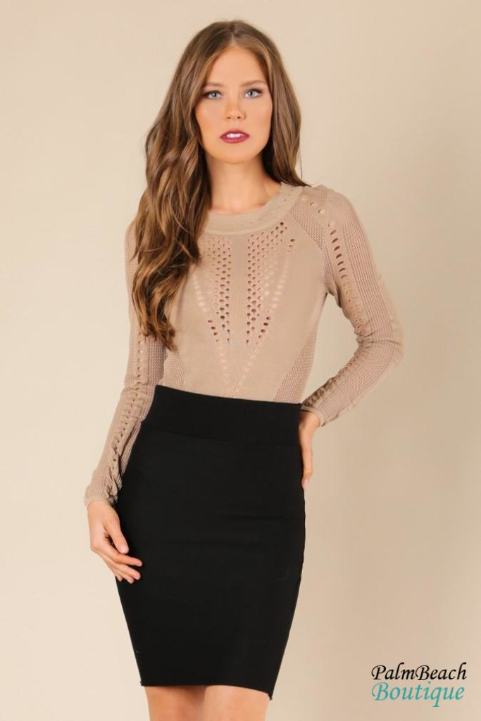 Sheer Detail Sweater Bodysuit
