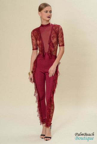 Sheer Lace Ruffled Jumpsuit - Womens Jumpsuits