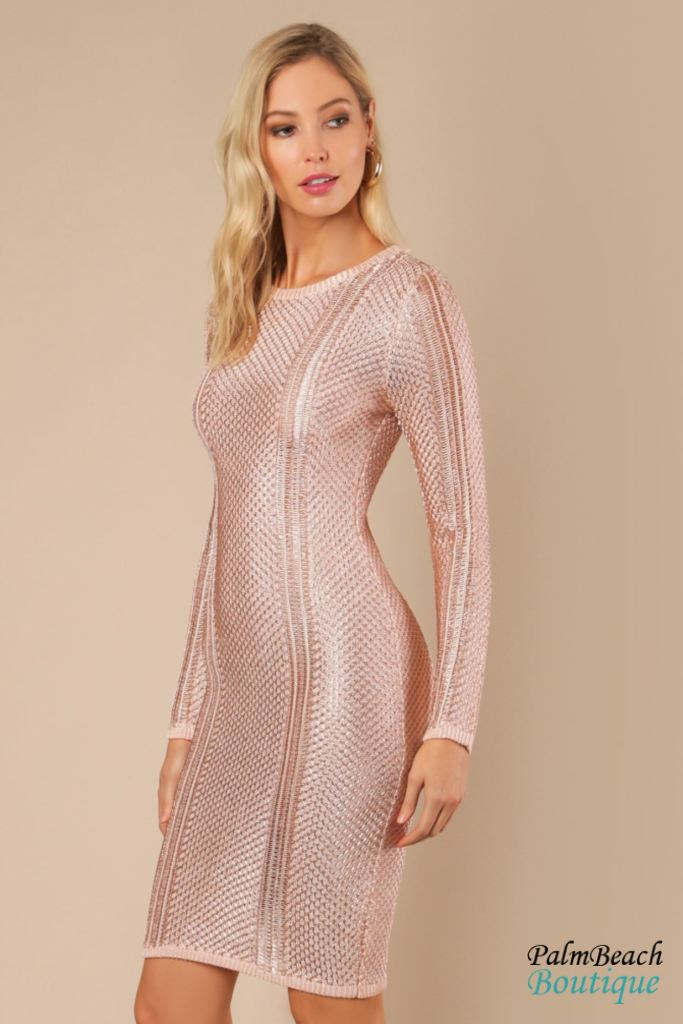 Sheer Rose Gold Sweater Dress - Dresses
