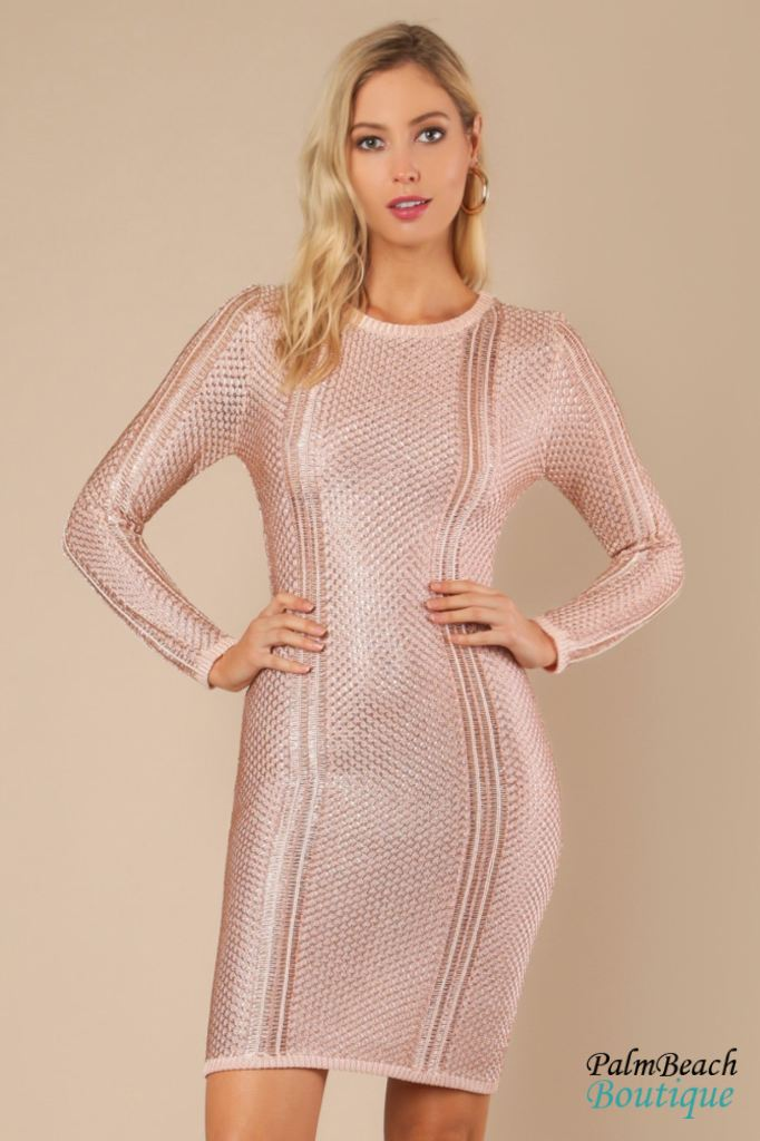 Sheer Rose Gold Sweater Dress - Small / - Dresses