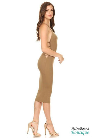 Side Cut Midi Dress - Womens Dresses