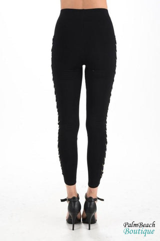 Side Grommet Lace Up Leggings - Womens Pants