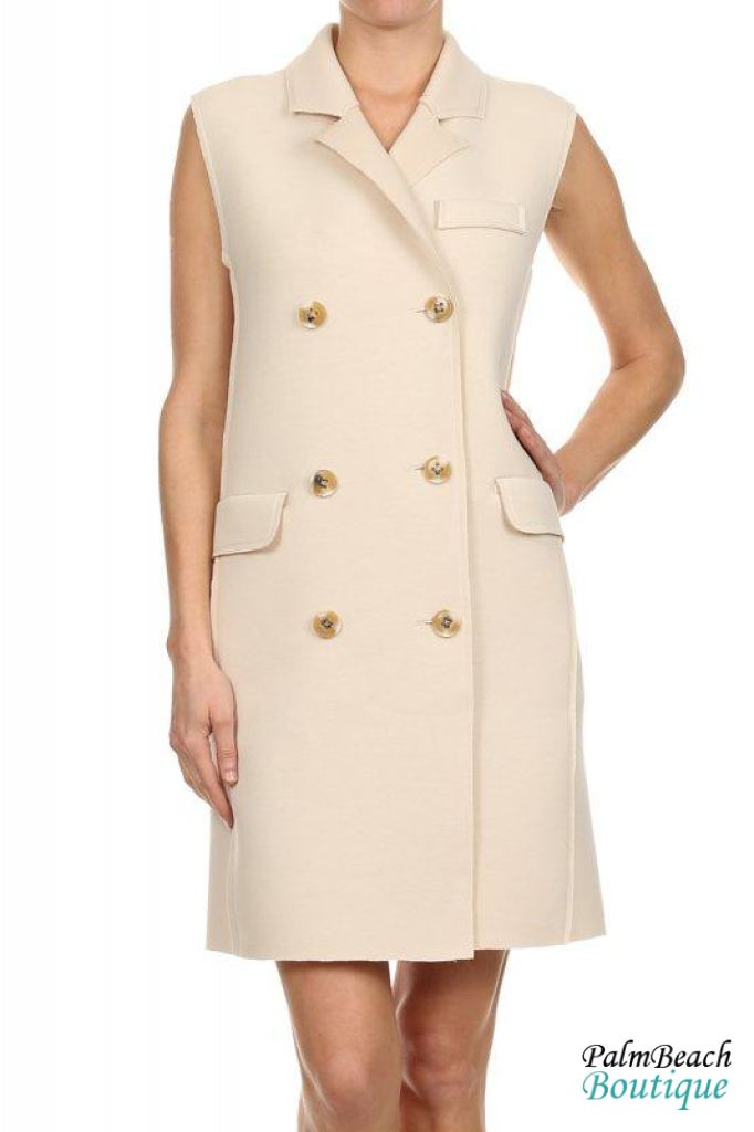 Sleeveless Trench Style Dress Coat - Womens Dresses