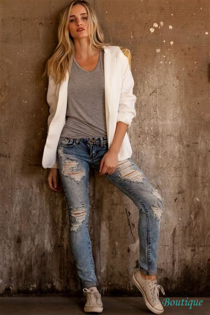 Stone Wash Mid-Rise Distressed Skinny Jeans - Jeans