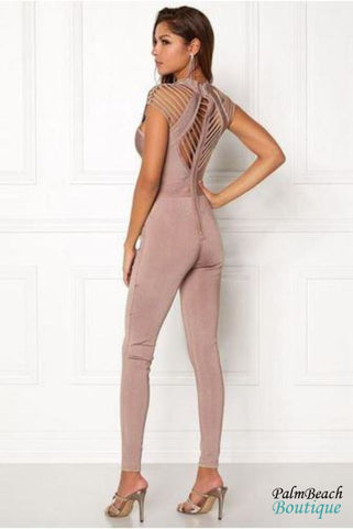 Strappy Cap Sleeve Bandage Jumpsuit - Womens Jumpsuits