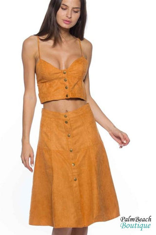 High Waist Faux-Suede Wrap Skirt Set