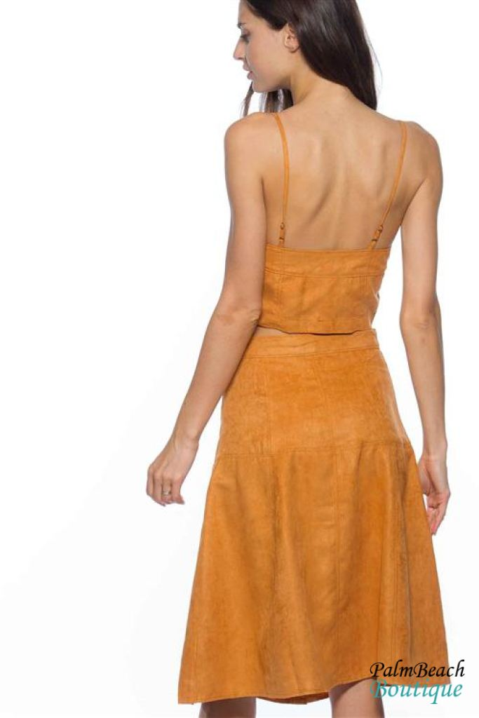 Suede Camel 2-Pc Set - Cropped Top & Midi Skirt - Sets