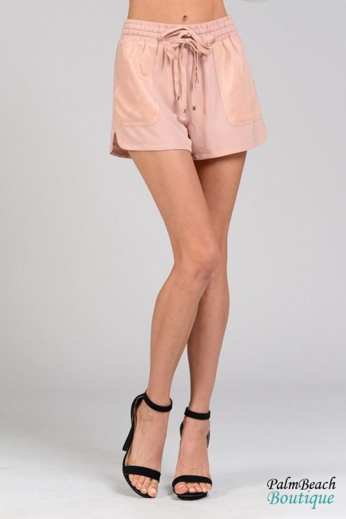 Suede Detail Shorts - Womens Shorts