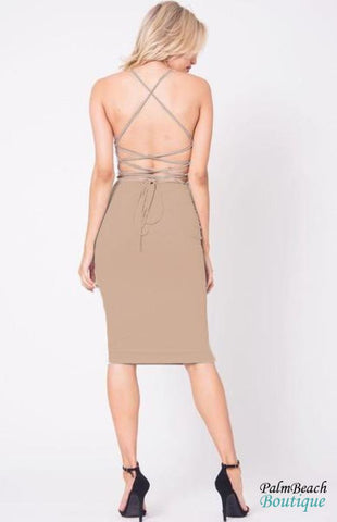 Suede V-Neck Crisscross Back Dress - Dresses