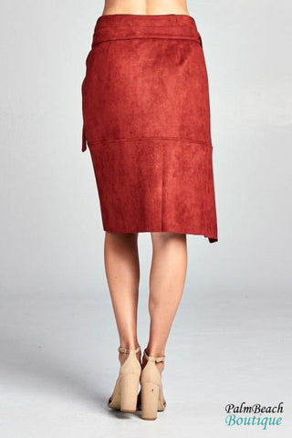 Sueded Crossover Skirt - Womens Skirts