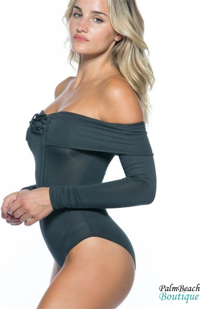 Super Soft Contemporary Lace-Up Off The Shoulder Sand Black Bodysuit - Bodysuits