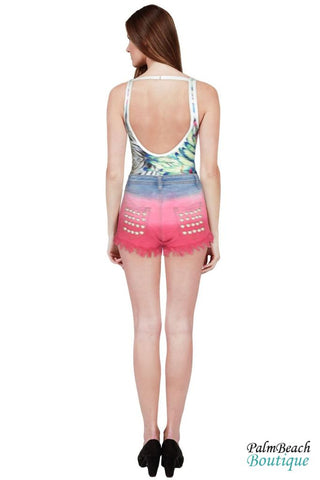 Tie Dye Denim Distressed Studded Frayed Short - Womens Shorts