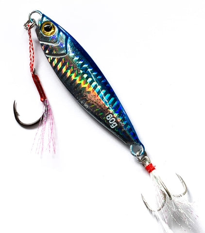 Long Casting Blue, Silver Holographic Jig