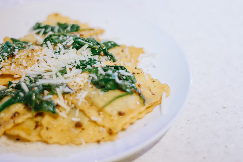 Ravioli with Sage Brown Butter Sauce and Spinach