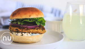 Veggie Burger with Fresh Dill Sauce