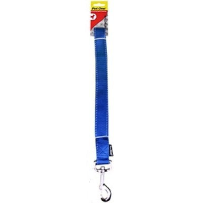 Dog Leash Lead Reflective Nylon - Blue - 25mm x 120cm (Pet One), WooforWuff