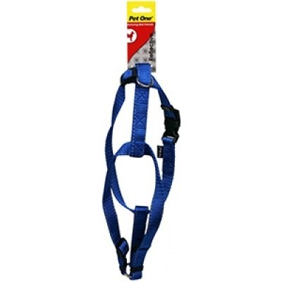 Dog Harness Nylon Reflective Adjustable - Blue - 23cm-35cm x 15mm (Pet One), WooforWuff