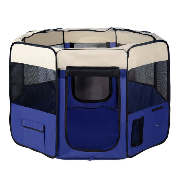 iPET Pet Soft Playpen Dog Puppy Cat Play Crate Cage Tent Winter Portable Blue XL, WooforWuff