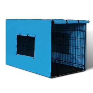 "42"" Folding Collapsible Portable Dog Cage w/ Cover Pet Crate Puppy Metal Kennel, WooforWuff"