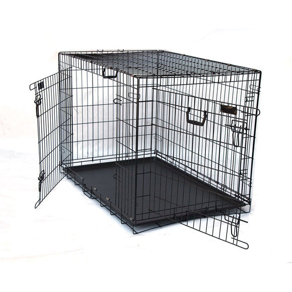 Double Doors Folding Dog Crate 24 30 36 42 48 Inches [Size: 42inches], WooforWuff
