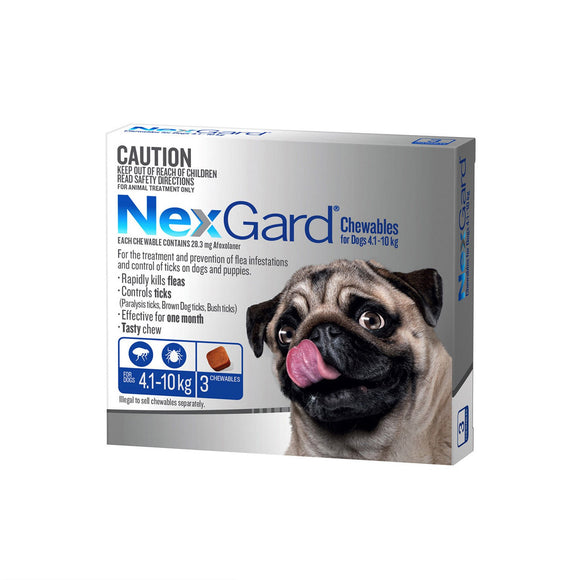 NEXGARD FOR DOGS 4.1-10KG - Blue 3 Pack, WooforWuff