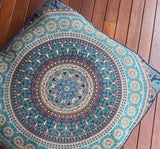 "Indian Square Elephant Mandala Floor Pillow Indian Cushion Cover Floor Pillow Sham Ottoman Floor Pouf Oversize Sofa Large Dog Bed 35""X35, WooforWuff"