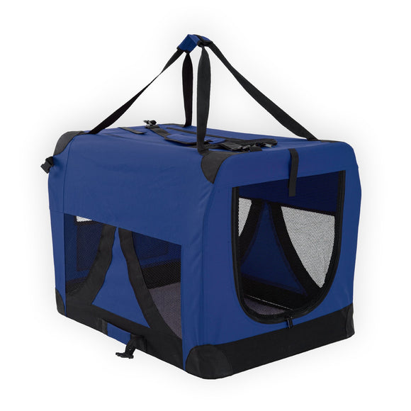 Portable Soft Dog Crate L - BLUE, WooforWuff