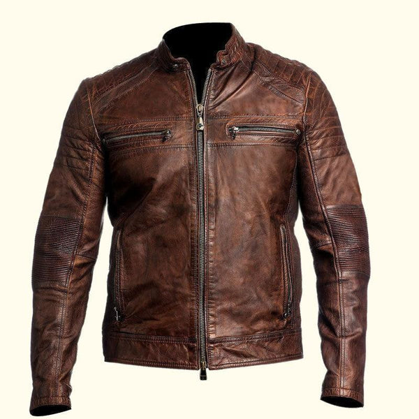 MENS VINTAGE BLACK BROWN GENUINE LEATHER JACKET SLIM FIT CAFE RACER REAL BIKER