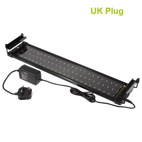 11W Fish Tank Aquarium LED Lighting 50CM-70CM Extendable Frame Lamp SMD 72 Leds White + Blue 2 Modes With EU/US/UK Plug Adapter