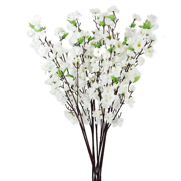 10pcs Artificial Peach Blossom Flower Bouquet with 3 Fork Stems for Home Office Decoration (White)