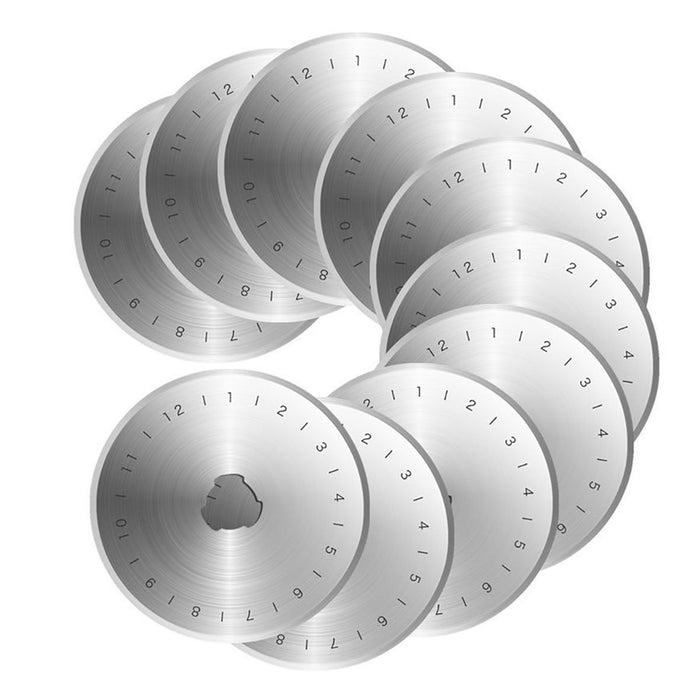 10pcs 45mm Rotary Cutter Replacement Blades with Storage Case Circular Cutting Blades for Sewing Fabric Leather Paper Crafts