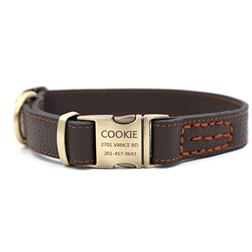 Genuine Leather Dog Collar with Customisable Zinc Tag