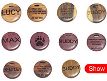 Wooden Custom Pet ID Tags Cat Tags with Leather Chord