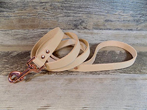 Handmade Rose Gold-tone Off White Leather Dog Leash