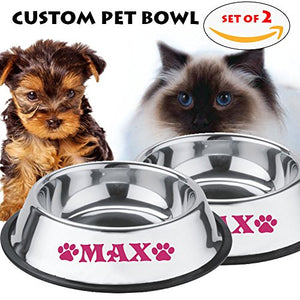Personalised Stainless Steel Pet Bowl Set for Small Pets